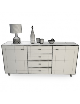 modern-sideboard-with-decorations-3d-wireframe