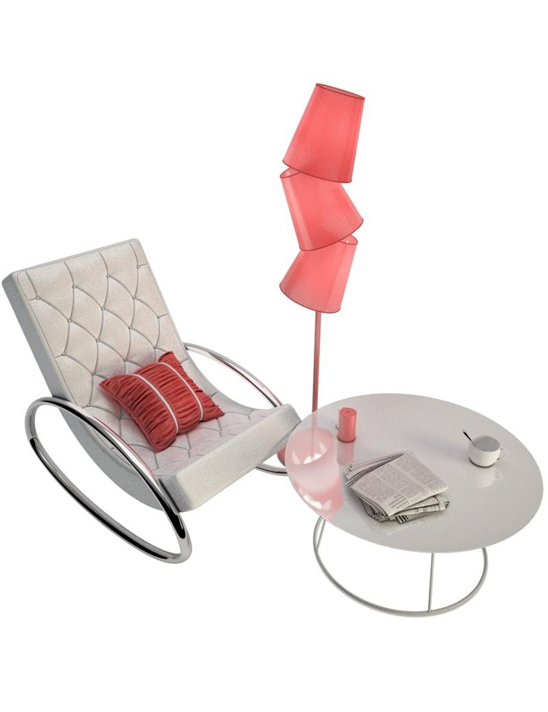 Coin salon au style contemporain en 3d à télécharger en max et obj