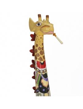 sculpture-de-girafe-coloree-modele-3d-détail