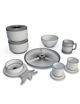 tableware-nordic-set-3d-wireframe