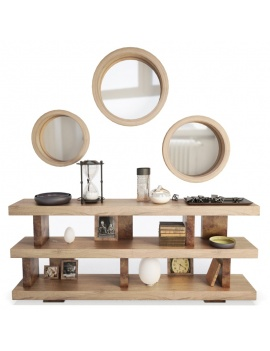 wooden-decorative-shelves-and-mirrors-3d