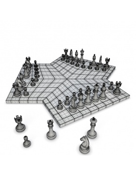 board-games-collection-3d-3-player-chess-wireframe