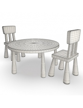 pink-girl-bedroom-set-3d-table-chair-ikea-mammut-wireframe