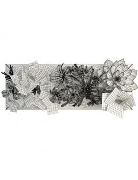 collection-de-plantes-et-fleurs-3d-tableau-vegetal-filaire