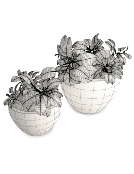 collection-plants-flowers-3d-plants-pot-wireframe