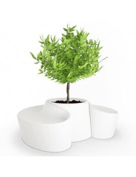 collection-de-plantes-et-fleurs-3d-pot-blanc-sardana