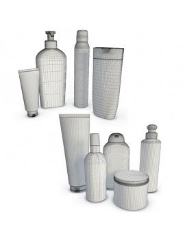 bathroom-products-and-metallic-shelves-3d-cadum-marseillais-wireframe