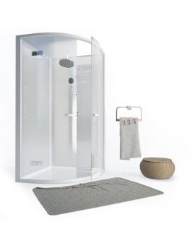 cabine-de-douche-et-serviette-de-bain-3d