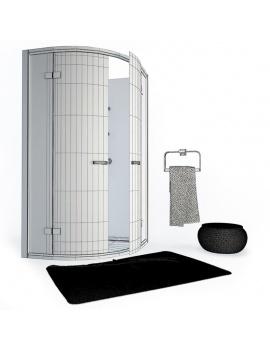 cabine-de-douche-et-serviette-de-bain-3d-filaire