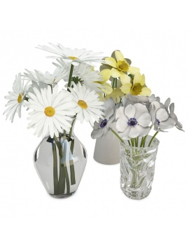 bouquets-of-flowers-in-vase-3d