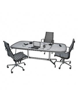 office-desk-composition-3d-wireframe