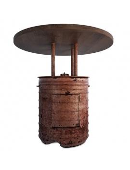 collection-de-mobilier-pub-vintage-3d-table-baril-rouge