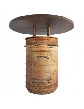 collection-de-mobilier-pub-vintage-3d-table-baril-rouille