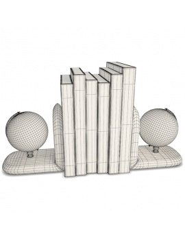 decorative-objects-3d-models-earthglobe-books-wireframe