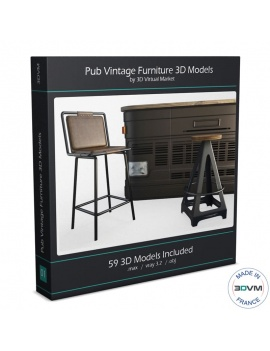 Collection Pub Vintage Furniture 3d Models