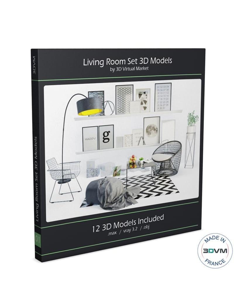 Salon contemporain graphique en 3d à télécharger en max et obj