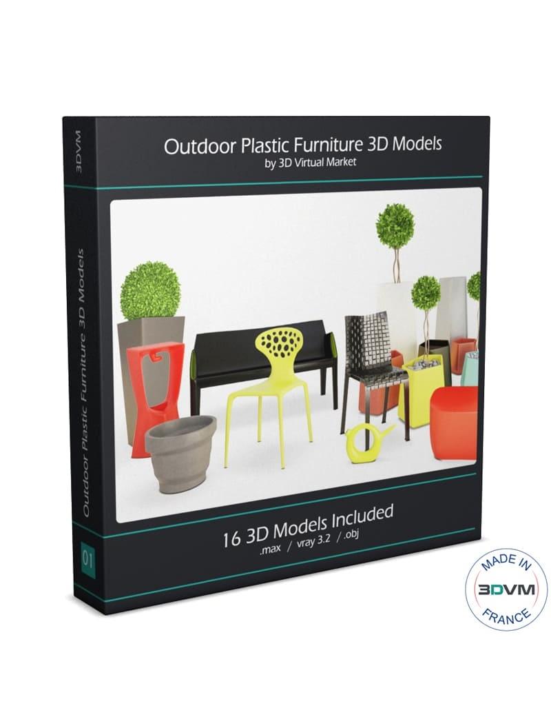 collection-3d-de-mobilier-d-exterieur-en-plastique-modele-3d
