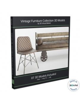 mobilier-vintage-chaises-tabouret-et-canapes-3d-vieilli-use