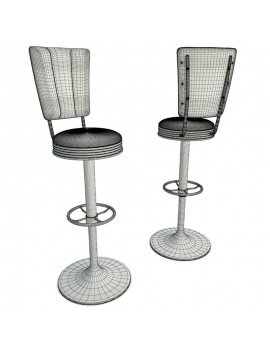 american-diner-3d-chair-stool-wireframe