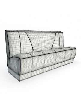 american-diner-restaurant-3d-padded-bench-seat-wireframe