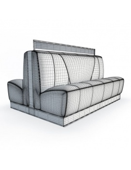 american-diner-restaurant-3d-double-padded-bench-seat-wireframe