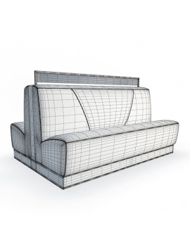 american-diner-restaurant-3d-double-bench-seat-wireframe