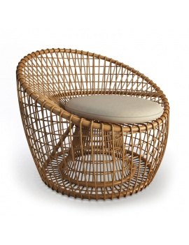 Nest Armchair Rattan Cane Line - 3d Model