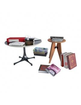 livres-et-table-basse-3d