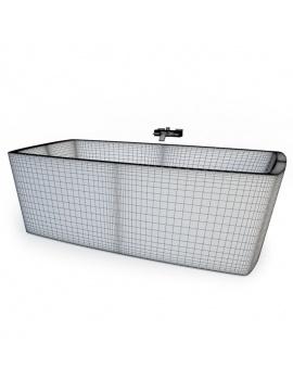 collection-mobilier-et-accessoires-salle-de-bain-3d-baignoire-concept-filaire