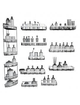 collection-mobilier-et-accessoires-salle-de-bain-3d-etageres-savon-filaire