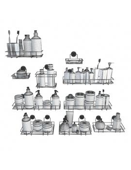 collection-mobilier-et-accessoires-salle-de-bain-3d-etageres-savon-2-filaire
