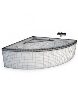 collection-mobilier-et-accessoires-salle-de-bain-3d-baignoire-angle-filaire