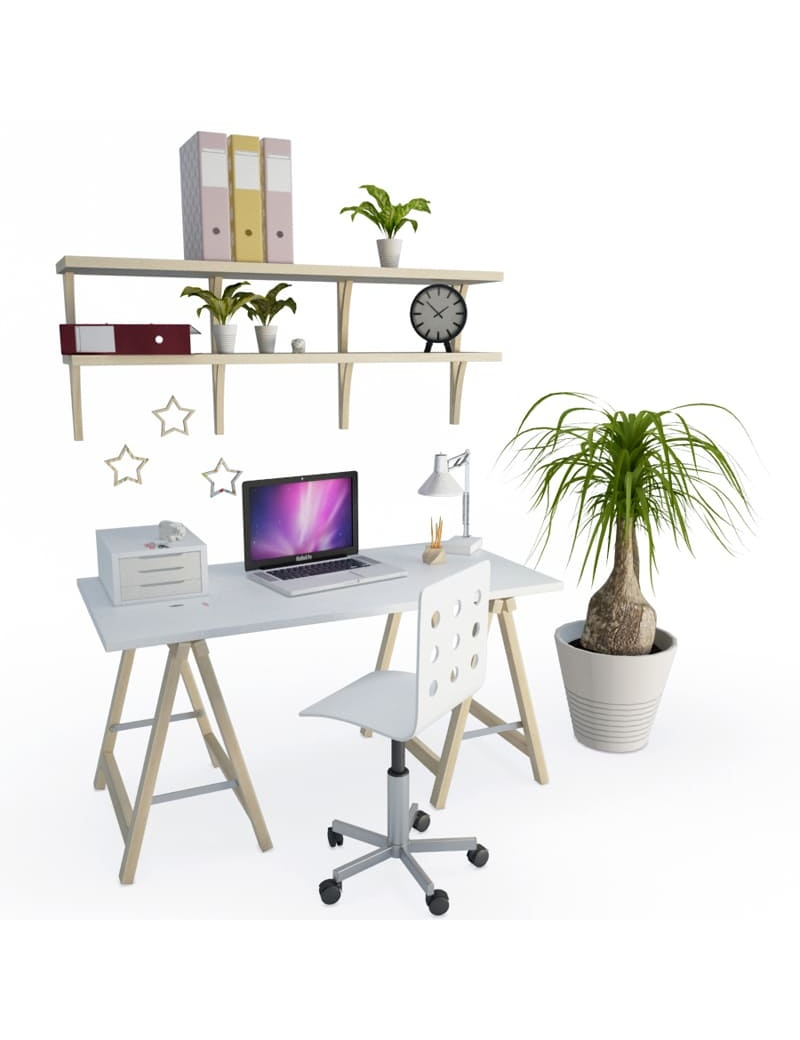 office-space-and-desk-accessories-3d