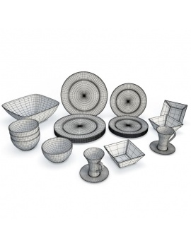 tableware-collection-3d-crockery-white-wireframe