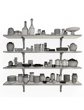 tableware-collection-3d-crockery-shelves-wireframe