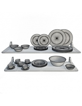 tableware-collection-3d-crockery-white-black-wireframe