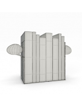 bookends-and-books-collection-3d-bubble-wireframe
