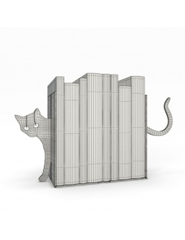 bookends-and-books-collection-3d-cat-wireframe