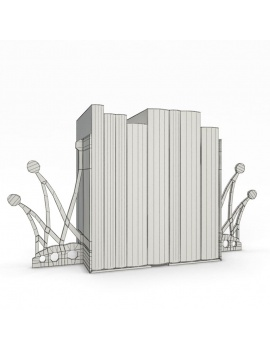 bookends-and-books-collection-3d-crown-wireframe