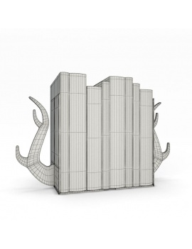 bookends-and-books-collection-3d-deer-wireframe