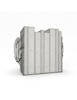 bookends-and-books-collection-3d-feather-wireframe