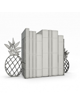 bookends-and-books-collection-3d-pineapple-wireframe