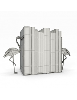 bookends-and-books-collection-3d-pink-flamingo-wireframe