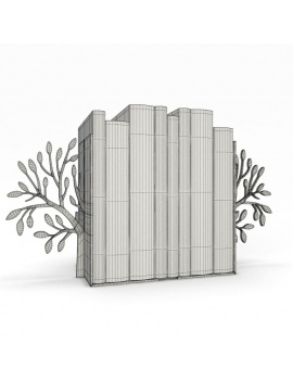 bookends-and-books-collection-3d-tree-wireframe