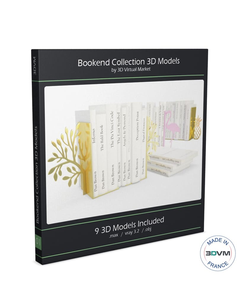 bookends-and-books-collection-3d-bubble