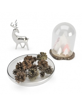 christmas-decoration-3d-chrismas-tree-pine-cone-deer