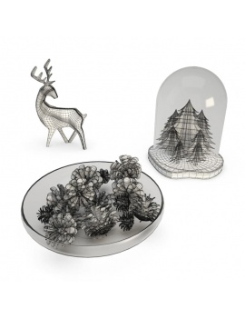 christmas-decoration-3d-chrismas-tree-pine-cone-deer-wireframe