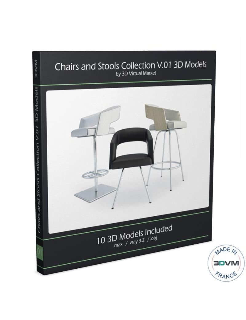collection-de-chaises-et-de-tabourets-de-bar-3d