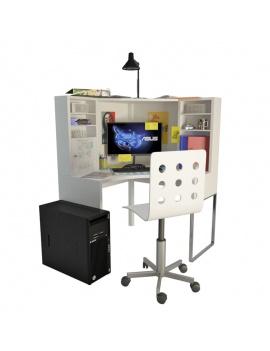 bureau-d-adolescent-et-accessoires-scolaires-3d