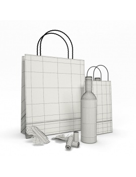 paper-bags-and-wine-3d-wireframe